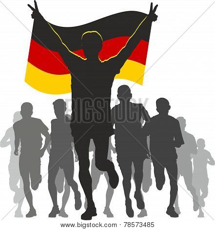 Athlete with the Germany flag at the finish