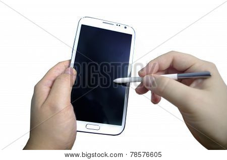 hand with smart phone stylus