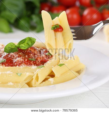 Eating Pasta Rigate With Napoli Tomato Sauce Noodles Meal With Fork