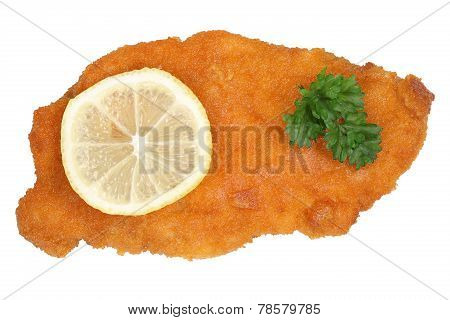 Schnitzel Chop Cutlet With Lemon From Above