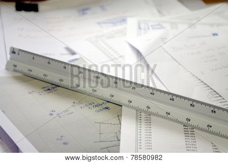 Scale, Architecture And Engineer Triangle Ruler