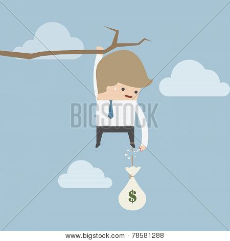 Businessman cut the rope of money sack to survive