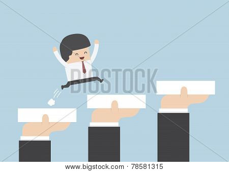 Hands Holding Blocks To Help Businessman To Go To Success, Career And Growth Concept