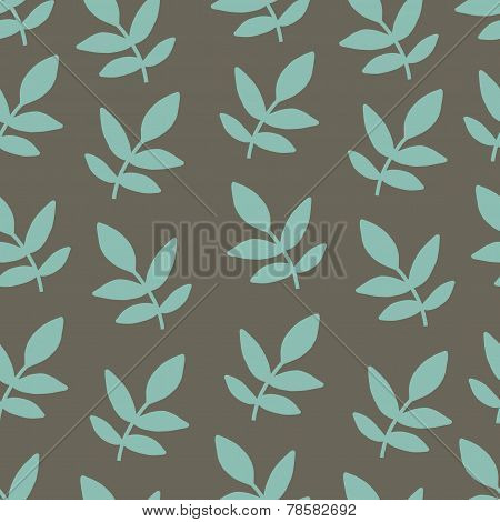 Seamles hand drawing pattern with nature brunch turquoise leaf
