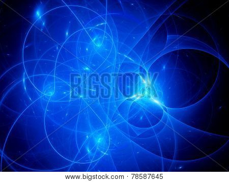 Blue Glowing Connections Between Galaxies