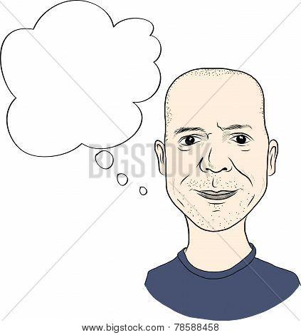 Cartoon style man face avatar with buble