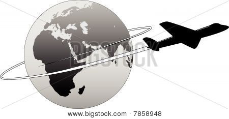 Airline Travel Around The World Earth East Plane