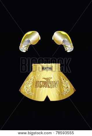 Golden boxing gloves and Golden thai boxer shorts