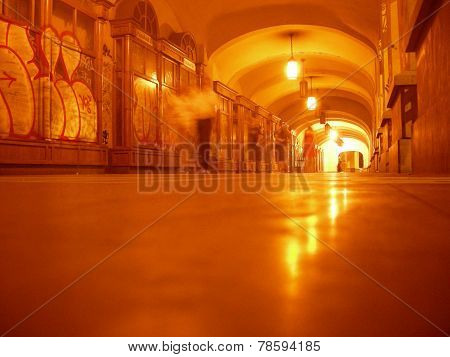 Perspective Of A Pedestrian Tunnel Illuminated