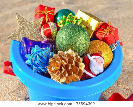 Christmas Decorations And Toys On The Beach