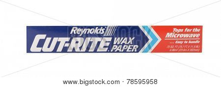Los Angeles,California. Dec 9th,2014:Nice isolated product shot of Cut rite wax paper