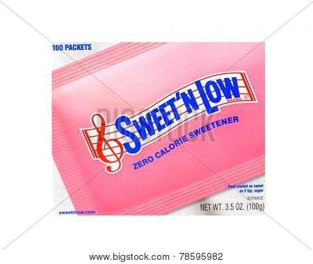 Los Angeles, California. Dec 9th 2014: Nice product image of sweet and Low sugar substitute