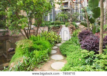 Foootbridge In Garden