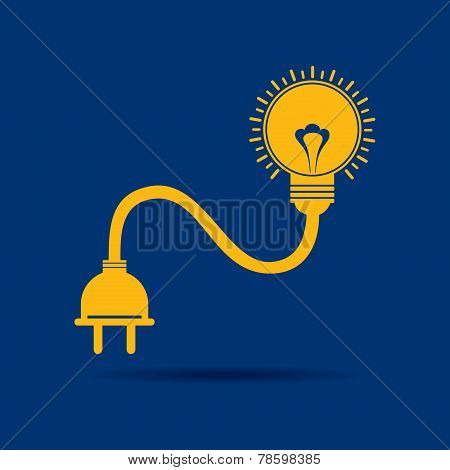 Abstract light-bulb with plug icon stock vector