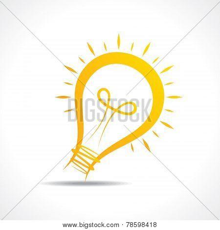 Abstract yellow light-bulb  icon stock vector