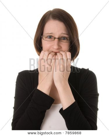 Nervous Woman On White