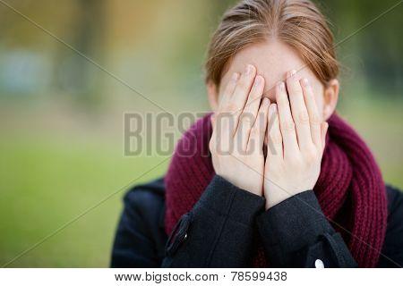 Fun Surprise - Woman Covering Face