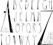 image of hand alphabet  - Thin hand drawn alphabet - JPG