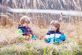 stock photo of bulrushes  - Two little sibling boys fighting and having fun with bulrush near forest lake nature on cold spring or autumn day - JPG