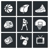 Basketball Vector Icons Set poster