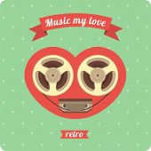 picture of heart sounds  - a poster with a heart inside which plays the music of love reel tape recorder in retro style - JPG
