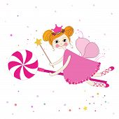 pic of fairy tail  - Lovely fairy with candy night vector background - JPG