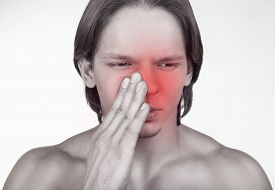 foto of sinuses  - Sick man having trouble with sinus pain isolated on white background - JPG