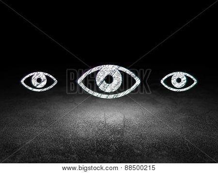 Security concept: eye icon in grunge dark room