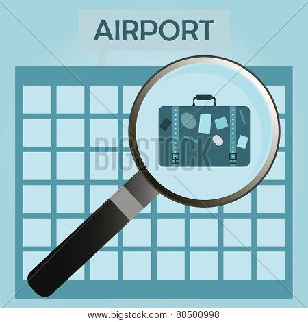 Isolated Icon Symbol Employment Center With Suitcase, Magnifier And Airport