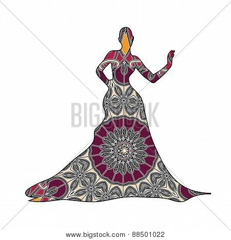 Young Sexy Woman In Dress With Mosaic