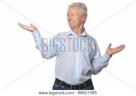 Elderly man on white background