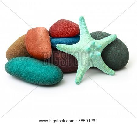 Sea star and stones isolated on white.