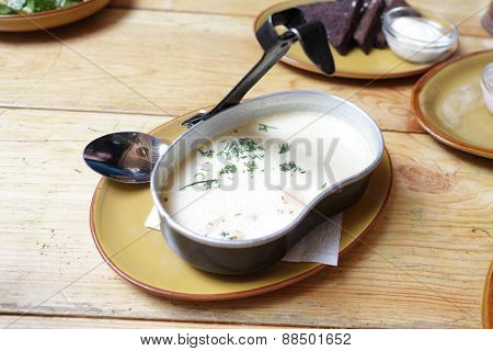 Plate With Creamy Soup