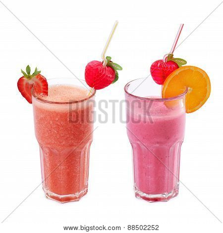 Refreshing Strawberry Smoothie Isolated On White
