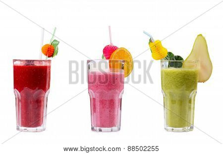 Three Refreshing Fruit Smoothies Isolated On White