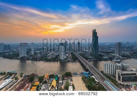 Bird eyes view of city town at sunset