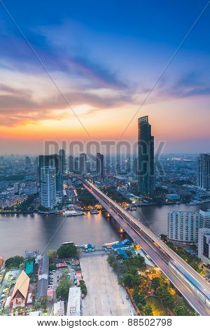Bird eyes view of Chao Phraya River Landscape