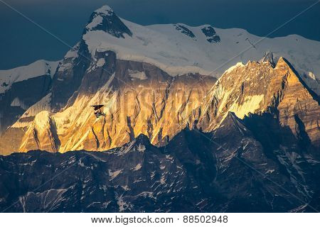 Glider Flying At Sunset Himalaya Mountains, Nepal