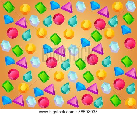 Colored precious stones on a gold background. Vector illustration