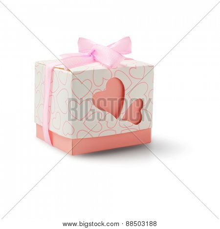 Love Hearts Gift Box With Bow Ribbon on White Background