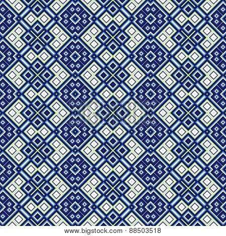 Seamless Geometric Pattern In Blue And Green