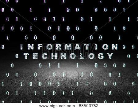Data concept: Information Technology in grunge dark room
