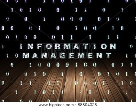Data concept: Information Management in grunge dark room