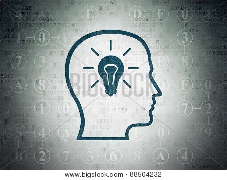 Data concept: Head With Lightbulb on Digital Paper background