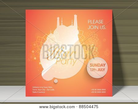 Stylish Ramadan Kareem Iftar party celebration poster or invitation card with mosque, date, time and place details.
