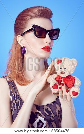 Glamorous lady girl in glasses, Loving teddy bear with hearts