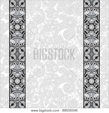 grey ornamental background with flower ribbon