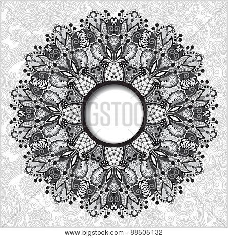 grey floral round pattern in Ukrainian oriental ethnic style
