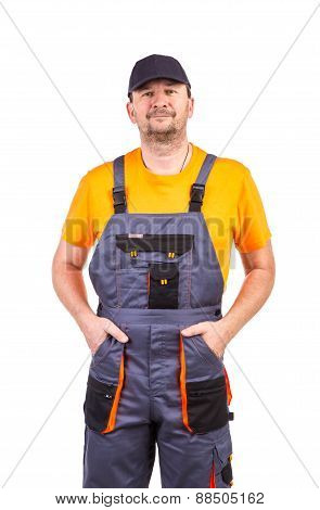 Man in overalls.