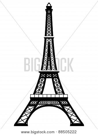 French Eiffel Tower In Black-and-white Color